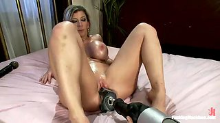 busty milf sarah jay gets her shaved pussy fucked by machine