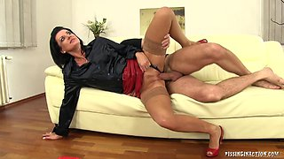 Brunette milf gets cum on her nice tits after sucking then riding a boner