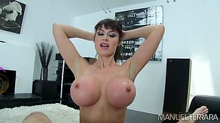 Hot brunette with massive melons rides her man like a woman possessed