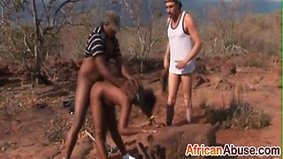 Black african whore is being arrested and abused outdoors