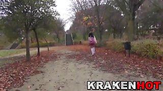 voyeur scene with a schoolgirl at the park