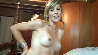 Pigtailed blonde fingers her pussy and shows her cameltoe