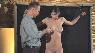 Cruel Master punishes his slave girl.