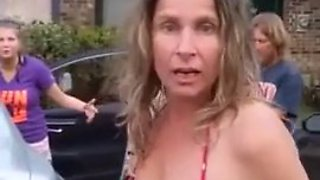 Fat drunk racist in a bikini