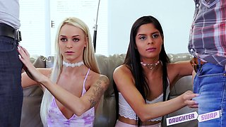 Bombshells Emma Hix and Katya Rodriguez in a steamy foursome