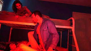 Russian teen brutal anal gangbang and blowjob after first ti