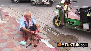 Hairy petite teen asian street hooker in amateur travel vlog pov