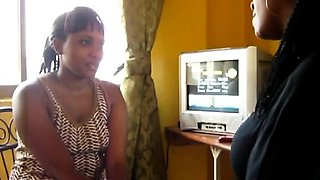 Sexy African girls with curvy bodies tease each other