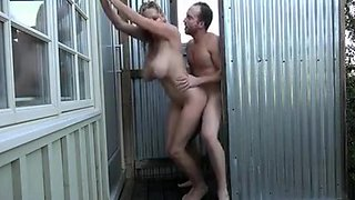 Outdoor Sex Hot Busty MILF Fucked in the Shower