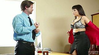 Sex-appeal secretary Mercedes Carrera goes wild on big dick of her boss