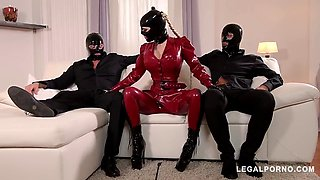Cock craving bdsm pornstar latex lucy fucked by two dominators&#39 dicks