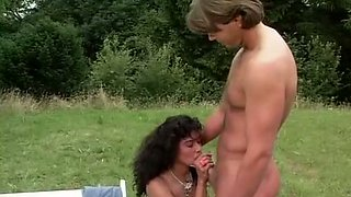 Insatiable dark skin whores in the park feed on white dicks