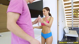 The fantastic Lana Rhoades has a dick riding work out session