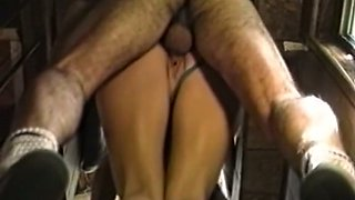 Insatiable blonde bimbo with shaved pussy blows big dick
