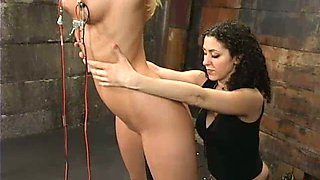 Sexxxy Blonde Gets Abused By Two Brunettes At Bondage Mansion!