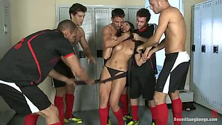 Sweet Vicki Chase gets gangbanged in a locker room