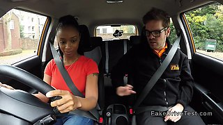 Big ass ebony fucks in driving school car