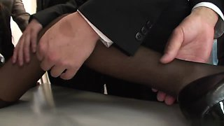 Dirty whore gets abused in a meeting
