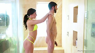 Taking a bath with his honey Whitney Wright and dicking her