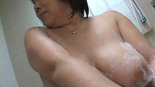Japanese Aunt Takes Shower