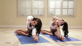 Horny yoga instructor Adriana Chechik seduces sweet looking client