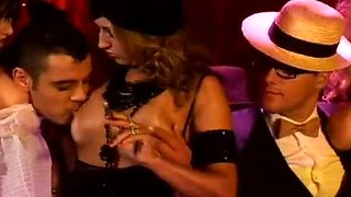 Dressed up video of hot sluts banging in the night club with gentlemen