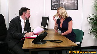 CFNM milfs jerking cock until a happy finish