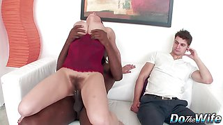 Housewife Michel Lee Bounces on a BBC as Hubby Watches