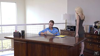 Skinny blonde secretary slammed hard in the office