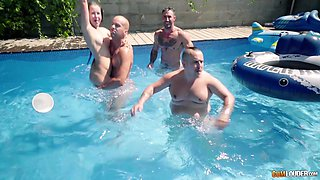 Group sex by the pool with Cassie Fire, Emilio Ardana and others