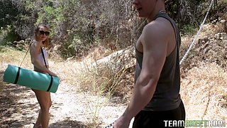 Slim pale natural girlfriend Paige Owens is hammered outdoors