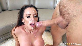 Busty Latina MILF Ariella Ferrera gets a huge facial after a hard fuck