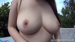 amateur asian solo model ravishing her hairy pussy in public