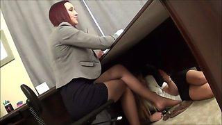 under boss desk sniffing nylons