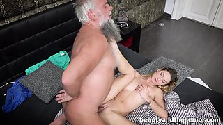Elderly man gets lucky with insatiable honey Maya Crush