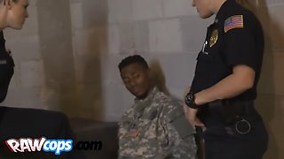 black soldier abused by horny cops with big tits