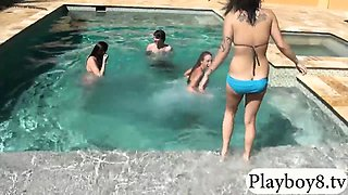 Three sexy gals take off bikini then banged by the pool