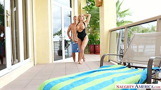 Super saucy blond MILF Olivia Fox sucked her horny BF off by the pool