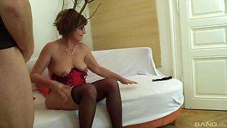 Mature amateur granny Jana has her pierced pussy fucked hard