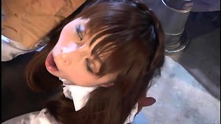 Pretty Asian babe in uniform gets used by a horny monster