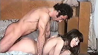 Exquisite and classic brunette girl having sex with her hairy man