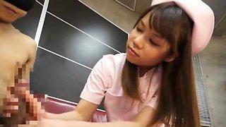 Horny Japanese chick Riria Mikoto in Best Nurse, Handjobs JAV scene