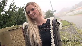 Natural busty Euro teen bangs in public