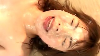 Naughty Oriental girls welcome huge loads of semen on their cute faces