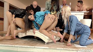 hardcore lesbian orgy with Coco de Mal and her slutty girlfriends