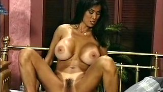 Sizzling hot Asian busty milf eats white cock in 69 style position