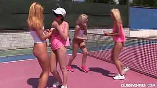 sporty lesbians taste each other's cunts in an outdoors foursome