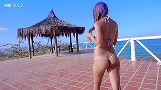 venezuelan anastasia delgado toys her heavenly pussy outdoors