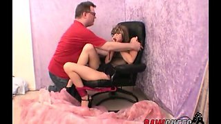 brunette teen gets tied and abused by horny stud