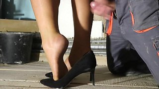 Hard and soft sex with cum on the sexy nylon feet best of